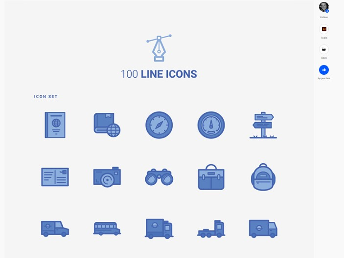 100 Free Line Icons (Free, SVG, AI, EPS, PNG) - Behance